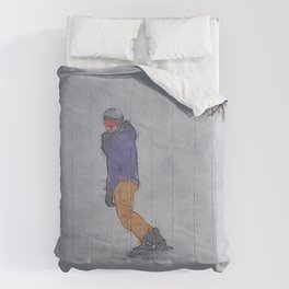 Sliding into Home - Winter Snowboarder Comforters