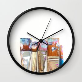 Five Paintbrushes Minimalist Photography Wall Clock
