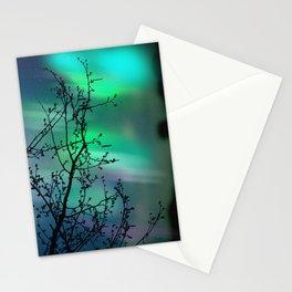 Tree Branch and Aurora Borealis Night Sky Stationery Cards