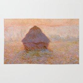 1891-Claude Monet-Grainstack, Sun in the Mist-99x32 Rug