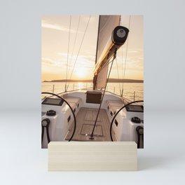 sailing yacht at sea - nautical photography- sailing into the sunset Mini Art Print