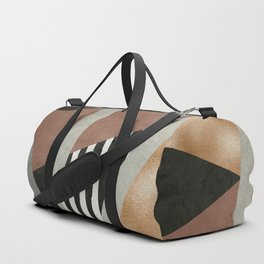 Abstract Geometric Composition in Copper, Brown, Black Duffle Bag
