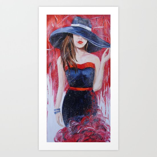 The girl in the hat Art Print