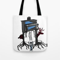 piano Tote Bags featuring piano by JBLITTLEMONSTERS