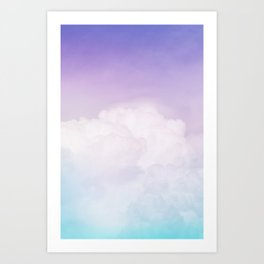 Happy Pastel Clouds | Aqua Purple Art Print