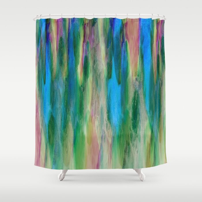 Charmant The Cavern In Shades Of Blue, Green And Pink Shower Curtain