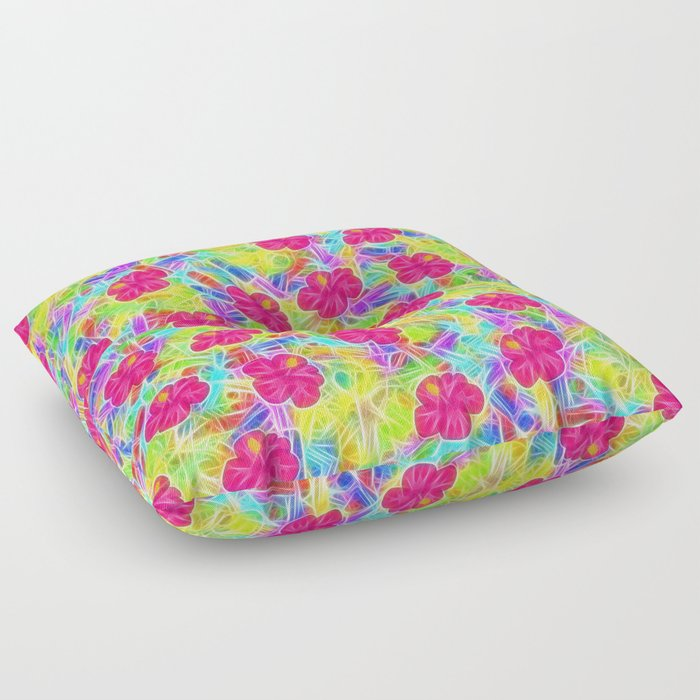 Hawaiian Pink Flowers Floor Pillow