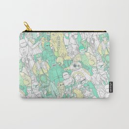 Space Toons in Pastel Greens and Yellow Carry-All Pouch