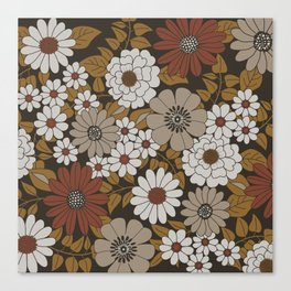 Brown, Orange, and Ivory Retro Flower Pattern Canvas Print