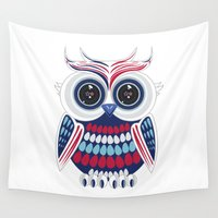 patriotic Wall Tapestries featuring Patriotic Owl by Adamzworld