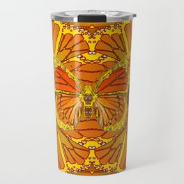 ORIGINAL ABSTRACT ART OF YELLOW-GOLD MONARCH BUTTERFLIES PUZZLE Travel Mug