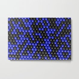Pattern of black and blue spheres Metal Print