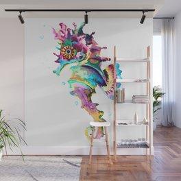 Seahorse , multi colored sea world animal art, design, cute animal art beach Wall Mural