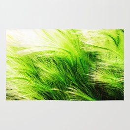 Green Swaying Grass in Summer Breeze Rug