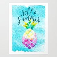 Hello Summer Watercolor Pineapple - Tropical Vacation Pineapple Art Print