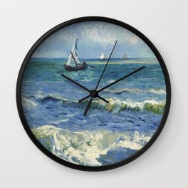 Vincent Van Gogh - Seascape at Saintes-Maries, 1888 Wall Clock