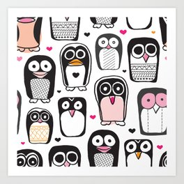 Adorable little penguin illustration pattern Art Print