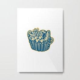 Crop Harvest Basket Retro Metal Print
