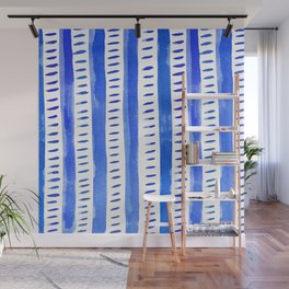 Watercolor lines - blue Wall Mural