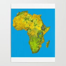 African Continent Topographical Relief Map Poster