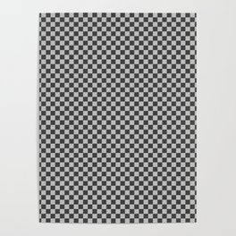 Black and White Checkerboard Carbon Fiber Pattern Poster