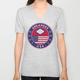 Arkansas, Arkansas t-shirt, Arkansas sticker, circle, Arkansas flag, white bg Unisex V-Neck