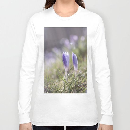 Crocuses at early backlight - Blue flowers - flower Long Sleeve T-shirt