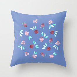 Clover Flowers on Periwinkle Blue Throw Pillow