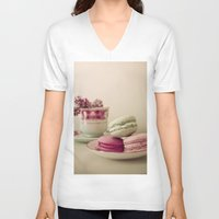 macaroons V-neck T-shirts featuring Lilac and Macaroons by Olivia Joy StClaire