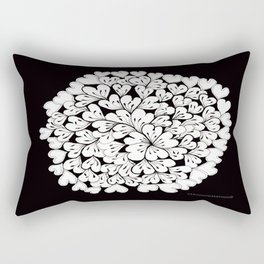 Hearts and Flowers Zentangle black and white illustration Rectangular Pillow