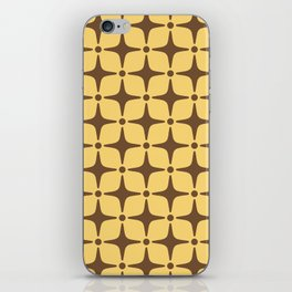Mid Century Modern Star Pattern Brown and Yellow iPhone Skin