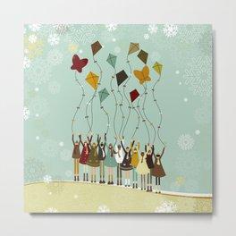 Children flying kites at christmas Metal Print