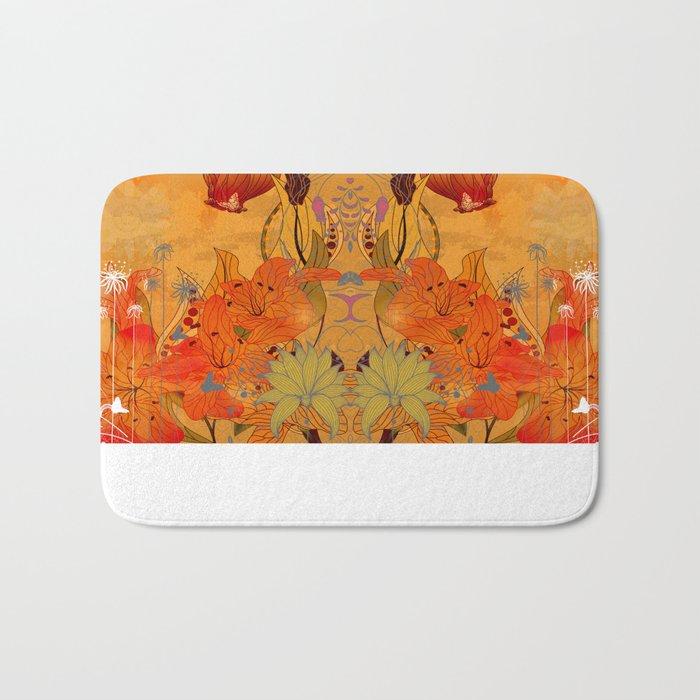Boho Floral Pattern Bath Mat
