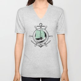 Anchor Wheel & Wooden Sailer Unisex V-Neck