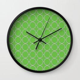 Green Quatrefoil Pattern Wall Clock