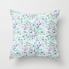 Marbled in blues Throw Pillow