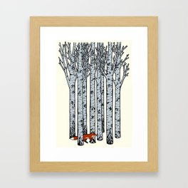 Fox in the Birches Framed Art Print