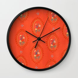 Floral Oval on Red Wall Clock