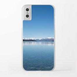 Blue line landscape Clear iPhone Case
