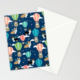Corgi Hot Air Balloon Dog design - corgi dogs cute dog design Stationery Cards