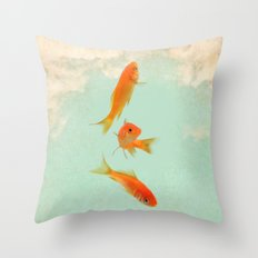 Goldfish in the sky Throw Pillow