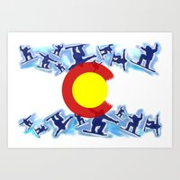 snowboard Art Prints featuring Colorado snowboard style flag  by Artistic Attitude