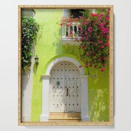 Colorful Green Door in Colonial Cartagena, Colombia Serving Tray