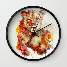Resting Lioness Watercolor Painting Wall Clock