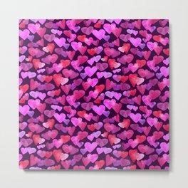 Watercolor hearts romantic design Metal Print