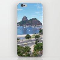 rio de janeiro iPhone & iPod Skins featuring Rio de Janeiro Landscape by Fernando Macedo