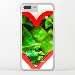 Green spinach heart Clear iPhone Case