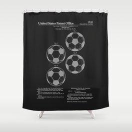 Soccer Ball Patent - Black Shower Curtain
