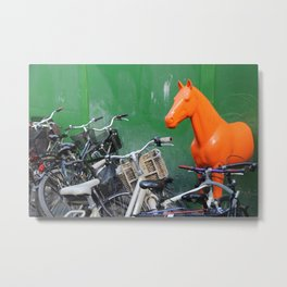 Copenhagen. Bikes and Horse Metal Print