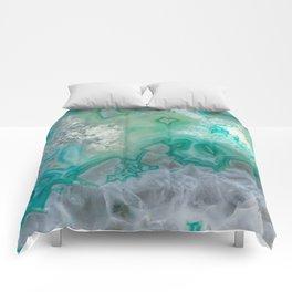 Teal Quartz Geode Comforters